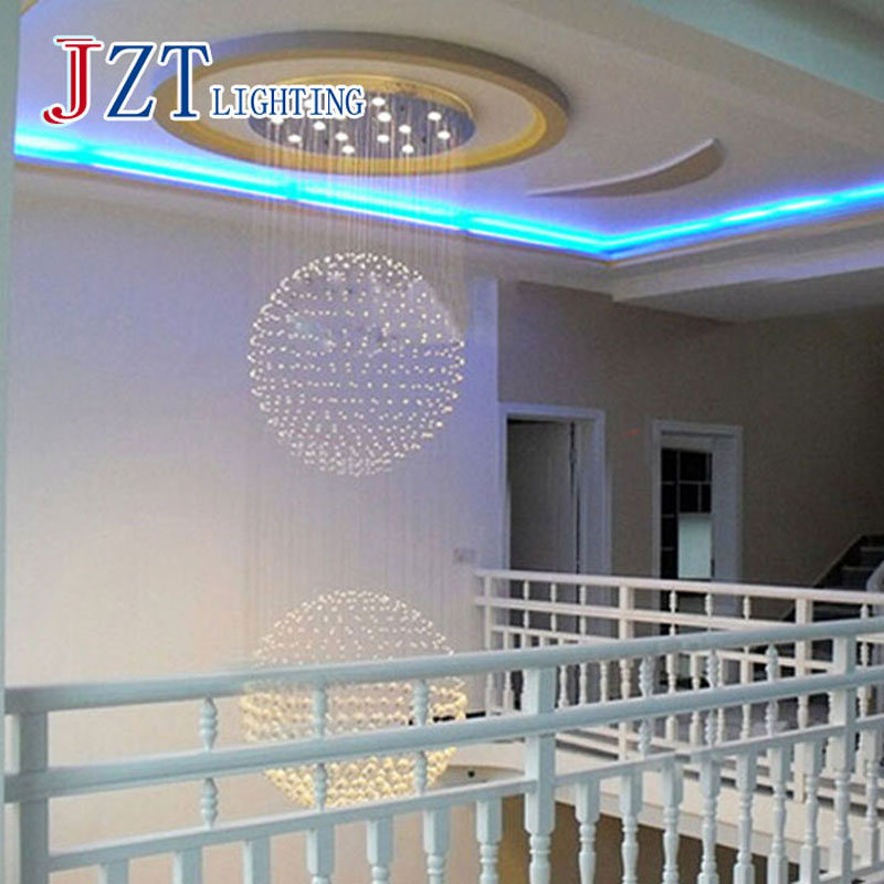 T Large Luxury Crystal Circular Ceiling Light For Hotel Engineering Penthouse Floor Hall Stair With LED Bulbs Best Price