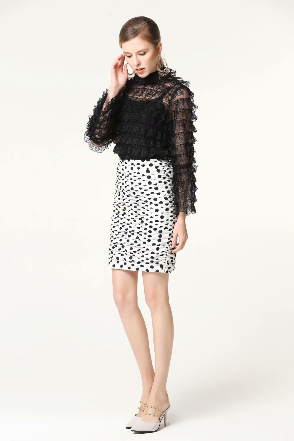 Occident Runway Autumn Vintage Embroidered Lace Blouse Lace Skirt Skirt Suit 170503Z02
