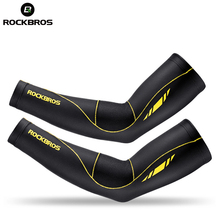 ROCKBROS Ice Fabric Extended Cycling Arm Warmer Basketball Volleyball Tennis Arm Sleeve Anti-Slip Sport Safety Armwarmers Cover