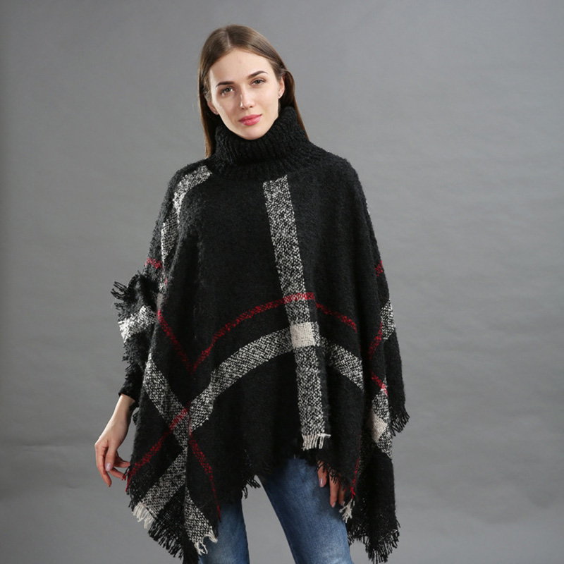 f74e7ac50f Winter Sweater Women Knitted Poncho Turtleneck Ladies Scarf Thick Warm  Sweaters and Pullovers Plus Size Poncho
