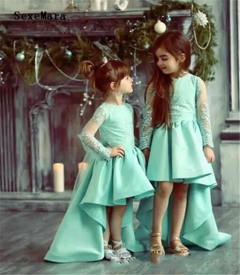 Cute New Flower Girl Dresses For Wedding Lace Appliques Sheer Long Sleeves Girls Pageant Dress Birthday Party Gowns Custom MadeCute New Flower Girl Dresses For Wedding Lace Appliques Sheer Long Sleeves Girls Pageant Dress Birthday Party Gowns Custom Made