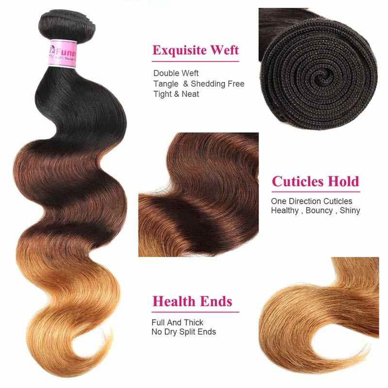 1B/4/30 Ombre Body Wave Bundles With Closure Brazilian Hair Weave Bundles with Closure Funmi Virgin Ombre Bundles With Closure