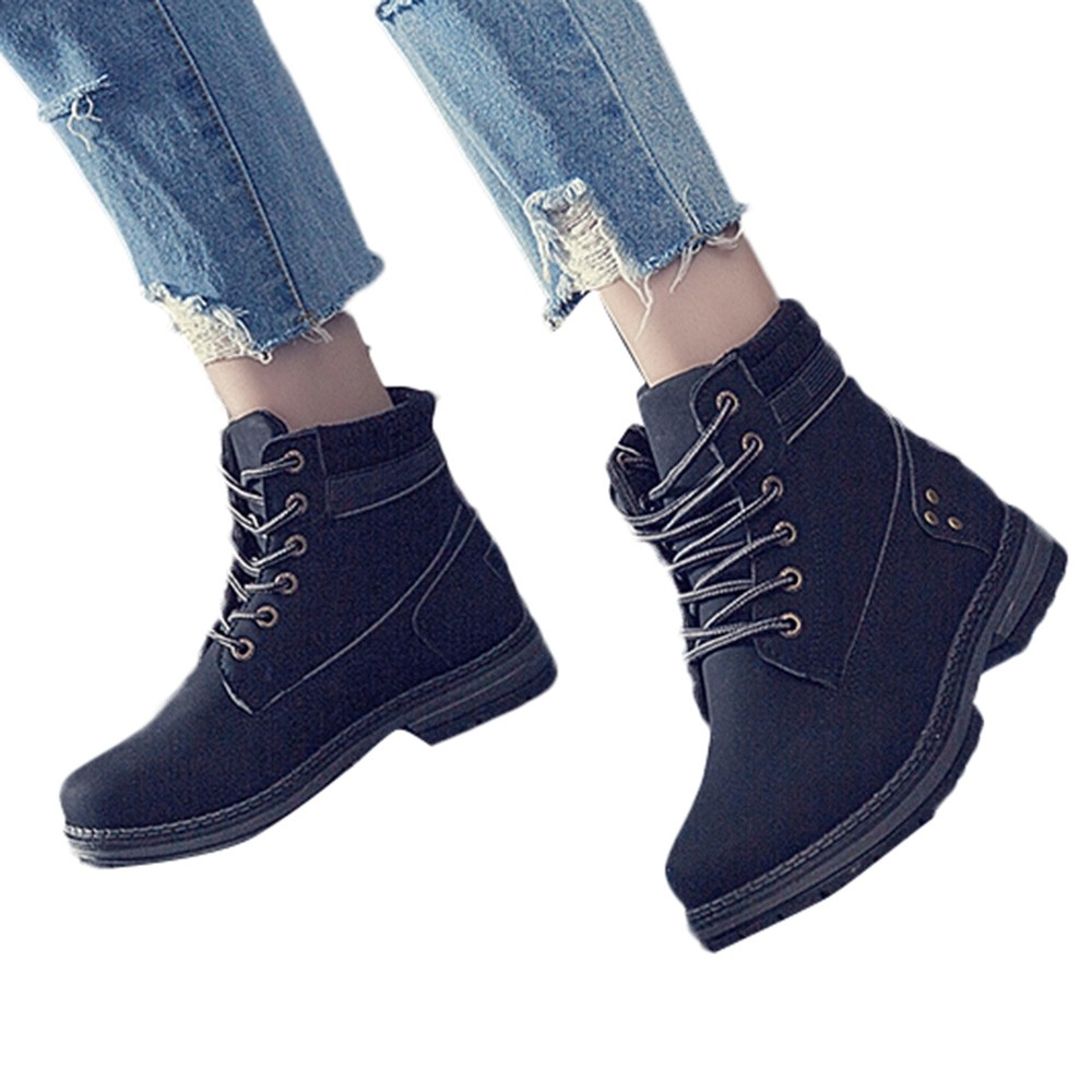 Women Boots Solid Lace Up Casual Ankle Boots Round Toe Shoes Student Snow Boots Classic Winter Warm Ladies Shoes T## 17