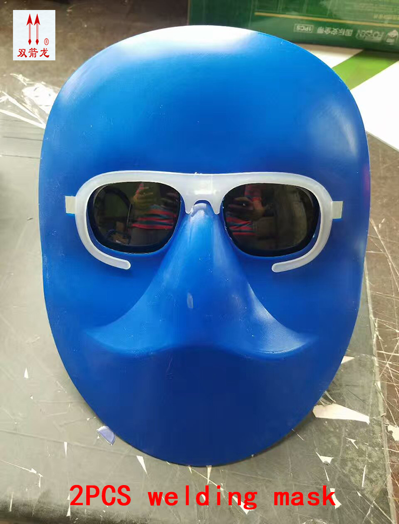 2PCS high quality mask for welding blue plastic PC lens full face protect mask welding Polished gas cutting safety mask high quality airsoft mask pc the lens used for cs welding polishing dust the face protect mask splash proof material safety mask