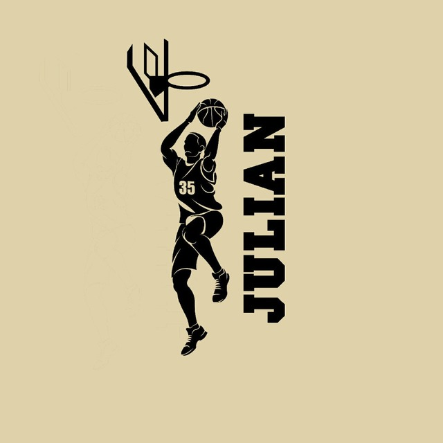 Basketball Player Slam Dunk Decal Custom Name Wall Personalized ...