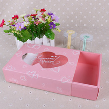50 Pcs 22x17x5.5cm paper box with window heart shape Drawer Pink gift for wedding Party birthday Cookie Candy cupcake