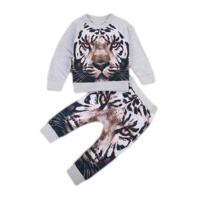 Toddler Baby Boy Autumn Spring Clothes Outfits Cotton Long Sleeve Tiger Print Tops Sweater+Pants 2Pcs Kids Infant Clothing 0-2Y 2017 new style spring autumn hoodie baby girl clothing set sequin lace long sleeve velour sports jacket long trousers outfits