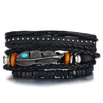 Vintage Multilayer Leather Bracelet for Men Bracelets Jewelry Men Jewelry New Arrivals Metal Color: FDY1089