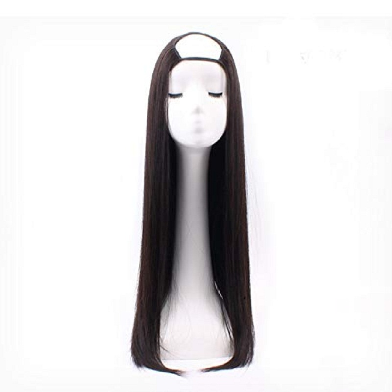 Full Shine U Part Human Hair Wig Solid Color Half Wig Clip In One Piece Straight Hair Extensions Machine Remy Hair Extensions