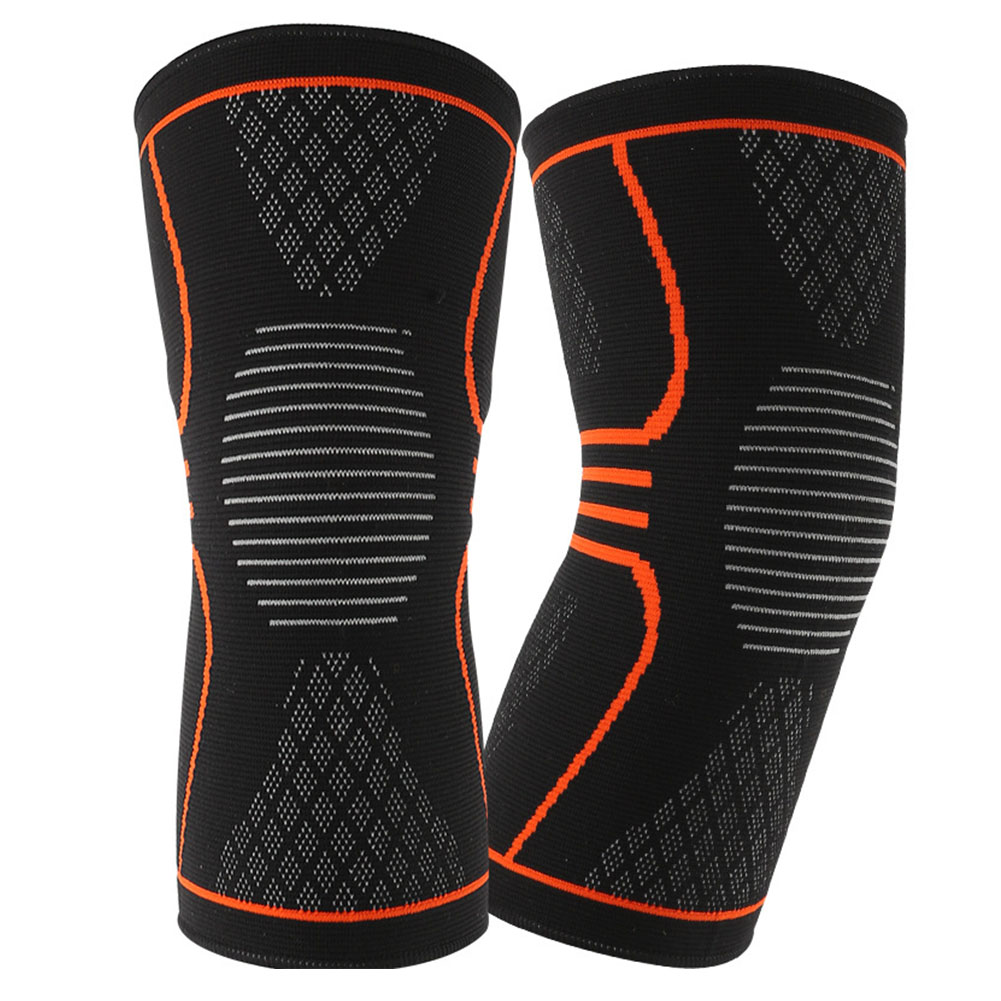 2PCS Outdoor Elastic Sports Brace Running Protective Pain Relief Knitting Anti-slip Support Fitness Compression Sleeve Kneecap