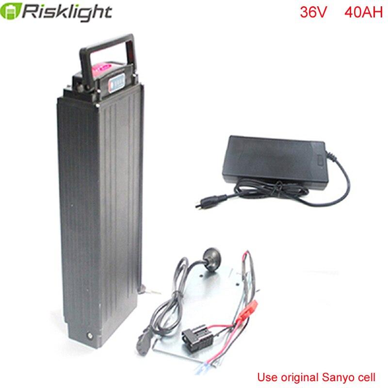 36 v 40AH 1000 w porte-bagages Arrière batterie Au Lithium 36 v vélo électrique Scooter batterie avec Puissance lumières + feux arrière Pour Sanyo Cellulaire