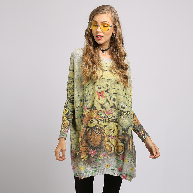 XIKOI New Woman Sweater Oversize Long Batwing Sleeve Pullovers O-Neck Knitted Fashion Casual Regular Bear Print Clothes