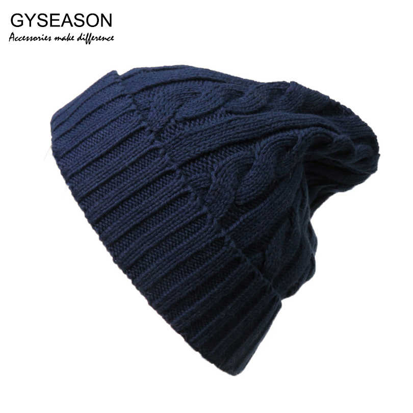 15178a07492 Men Hat Winter Warm Knit Beanies Cotton Bonnet Hat Navy Blue Tuque Slouchy  Gorros Skullies Casquette
