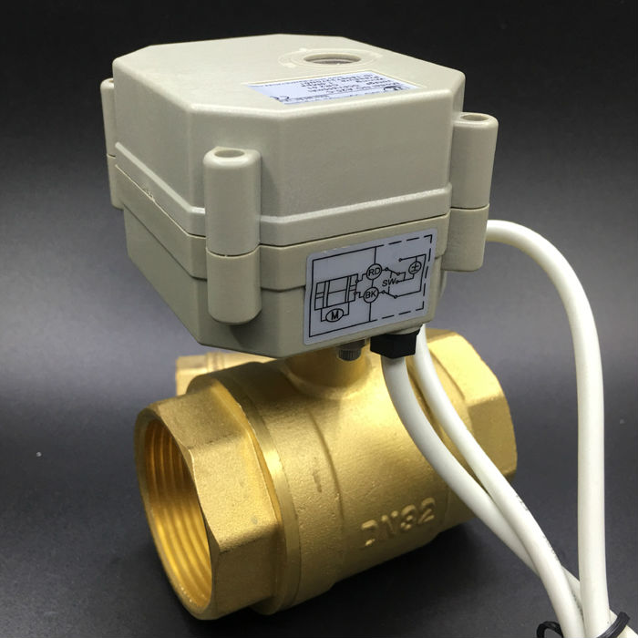 AC/DC 9V 12V 24V Normally Open/Closed Valve TF32-B2-C 2-Way Brass DN32 BSP/NPT 1-1/4'' On/Off 5 Sec Metal Gear CE free shipping dn25 dc24v 5 wires electric brass ball valve with signal feedback tf25 b2 c npt bsp 1 2 way valve