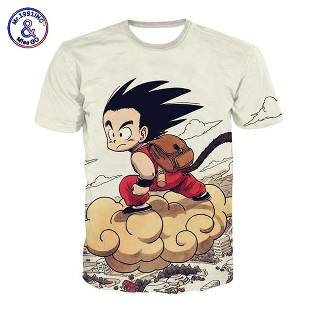 7755ab288 Dragon Ball Z T-Shirts Men's Summer Cartoon Son Goku On the Cloud T Shirt  Dragonball Casual Tee Shirt Homme