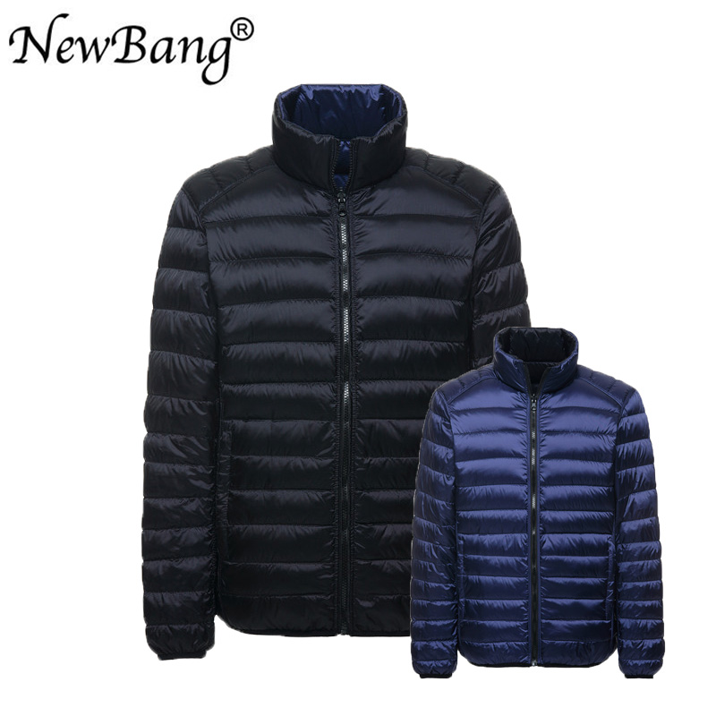 NewBang Plus 4XL Down Jacket Men Ultra Light Down Jacket Autumn Double Side Feather Reversible Parka With Carry Bag