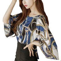 2016 Women Korea Style Turtleneck Blouse Top Chiffon Big Sizes Blue Chain Print Long Sleeve Shirts