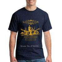 2018 קיץ אופנה חדשה גברים טי Lovecraftian-R'lyeh ויסקי תווית זהב עיצוב קצר Crew Neck חולצות T T חולצות