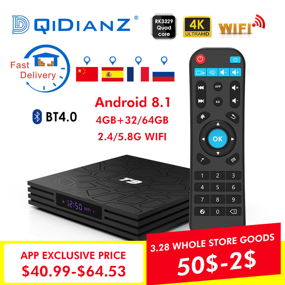 T9 Smart TV BOX Android 8.1 OS 4 GB + 32 GB/64 GB RK3328 Quad-Core WIFI 2,4G 1080 P 4 K YouTube Netflix Media Paly Set top box