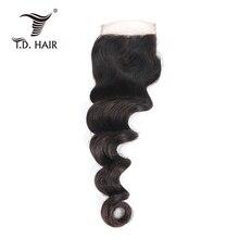 Перуанское неплотное Переплетение 4*4 закрытие шнурка человеческих волос предварительно сорвал с волосами младенца бесплатно Средний три части