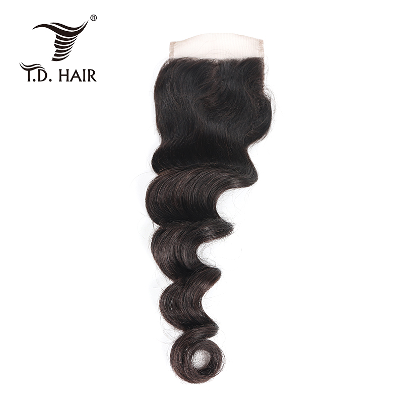 Peruvian Loose Wave 4*4 Lace Closure 100% Human Hair Pre Plucked With Baby Hair Free Middle Three Part