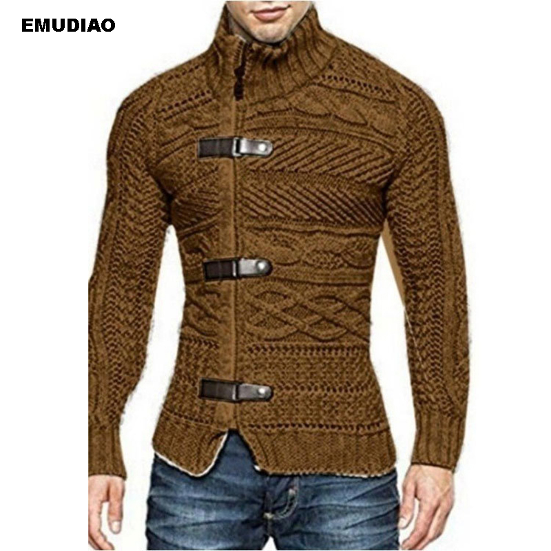 Sweater Men Turtleneck Long Sleeve Zipper Knitted Cardigan 2019 Autumn Winter Men's Coats Jumper Streetwear Sweaters For Men