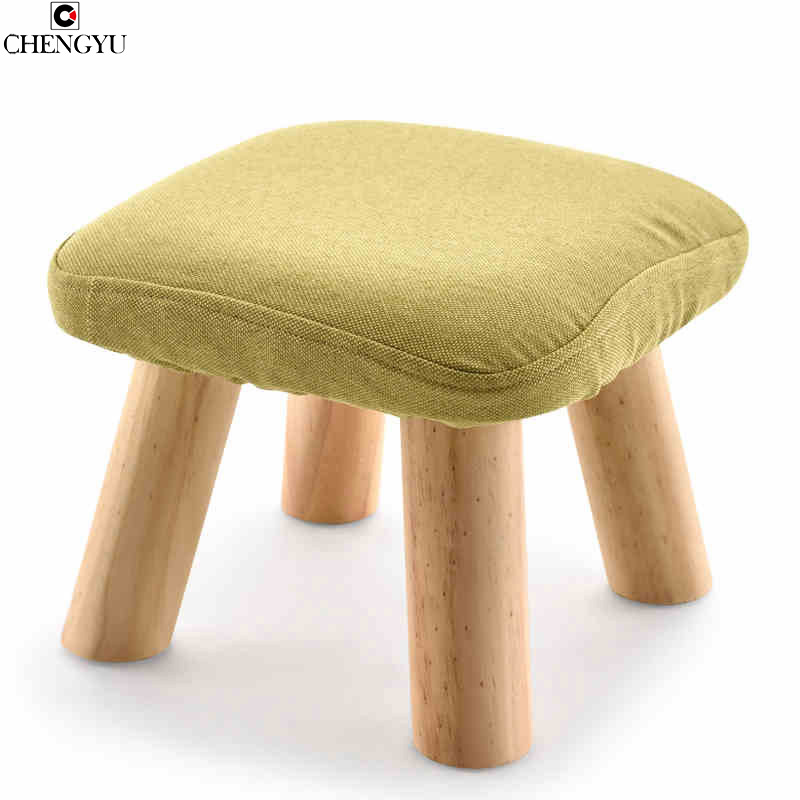 Wooden Small Stool Solid Wood Sofa Stool Fabric Small