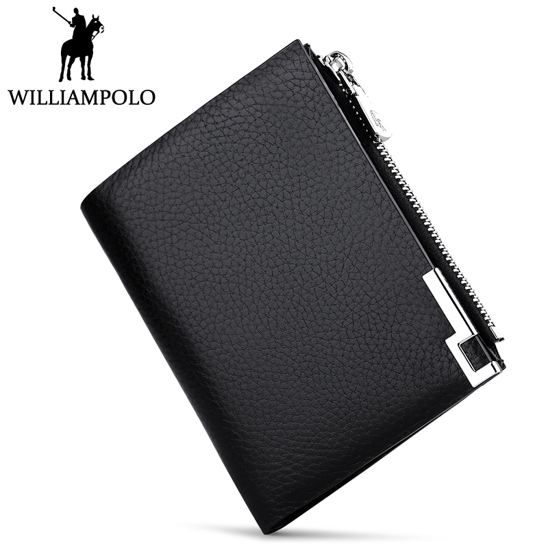 WilliamPOLO Genuine Leather Men Wallet Slim Zipper Coin Pocket Purse Short Small Wallet For Male 2018 Fashion Pouch Black Brown