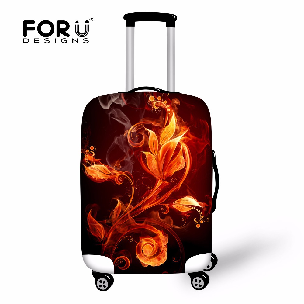 FORUDESIGNS Anti-dust Cover For Women Travel Suitcase Flame Floral Rose Luggage Covers Protector Apply To 18-30inch Trolley Case