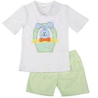 New Arrival Easter Baby Boy Bunny Embroidery Cute White Cotton Boutique Top T Shirt Clothing With