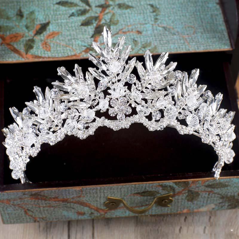 Barock lyx Rhinestone Crystal Beaded bröllop Tiara brud krona bröllop hår tillbehör