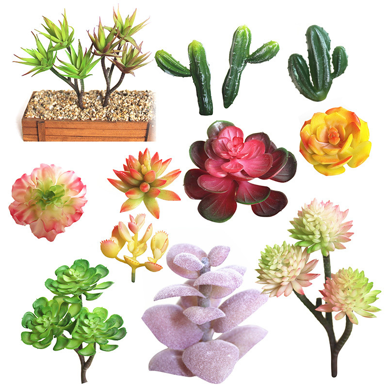 1Pc Mini Artificial Succulent Plants Lotus Landscape Decorative Flower Green Fake Various Succulents Plant Garden Ornament Decor