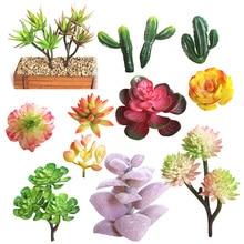 1Pc Mini Artificial Succulent Plants Lotus Landscape Decorative Flower Green Fake Various Succulents Plant Garden Ornament Decor