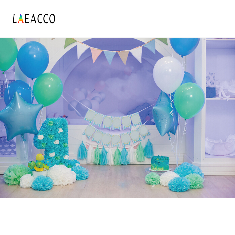 Laeacco بالون الطفل 1 عيد الأزرق ديكور - كاميرا وصور