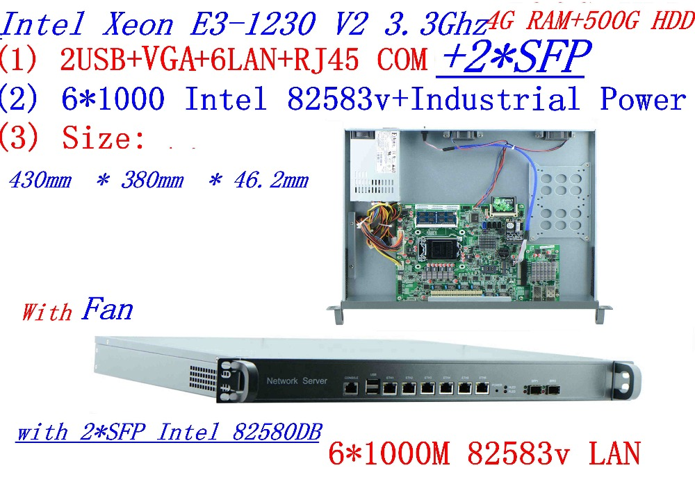 1U Universal Access Routers 1U Firewall 4G RAM 500G HDD With 2* SFP  6* 82583v Gigabit Lan Inte Quad Core Xeon E3-1230 V2 3.3G