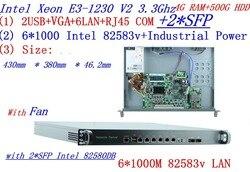 1U Universele Access Routers 1U Firewall 4g RAM 500g HDD met 2 * SFP 6*82583 v gigabit lan Inte Quad Core Xeon E3-1230 V2 3.3g