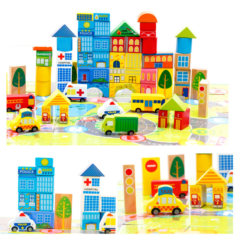 62pcs diy city wood building blocks creative compatible for Cost of building blocks in jamaica 2017