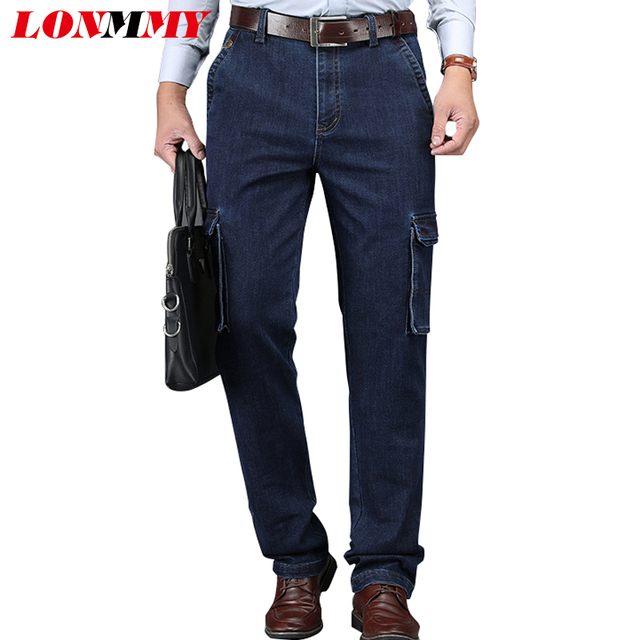 LONMMY PLUS SIZE 30-44 Denim jeans men 65% cotton Multi-pocket Straight  Elasticity jeans for men Cargo pants Military Army style f0f9275aa
