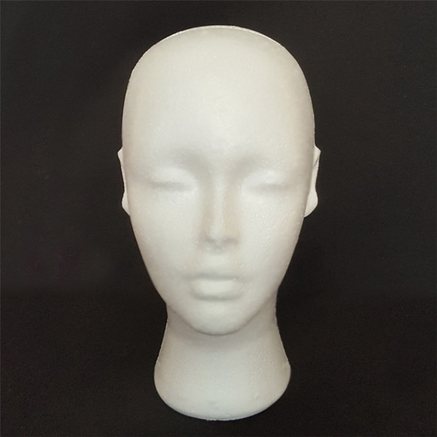 New Arrival Wig Stand 1PC Styrofoam Foam Mannequin Female Head Model Dummy Wig Glasses Hat Display Stand Wig head stand Pretty mannequin female foam long neck head model hair hat wig glasses stand display long neck female model head drop shipping