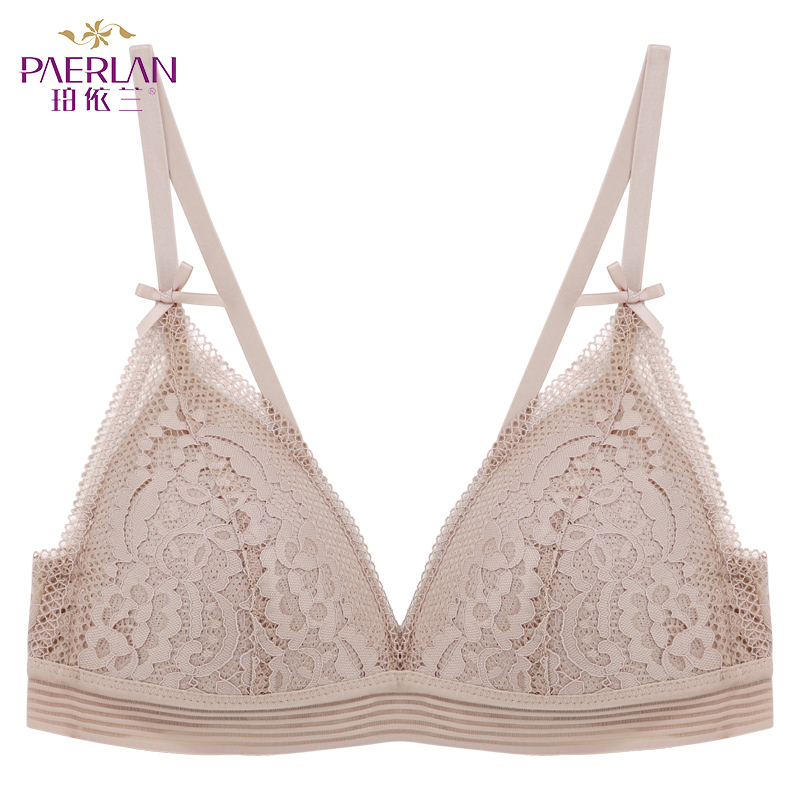 PAERLAN Lingerie Women Breast Push-Up White Cup Lace-Bra Thin-Cup Wire-Free Seamless