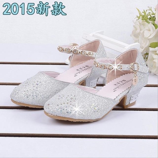 Faux Zapatos oro sandalias niños grande edad princesa plata blanco rosa cuero zapatillas años 10 Niña qxwEf1w