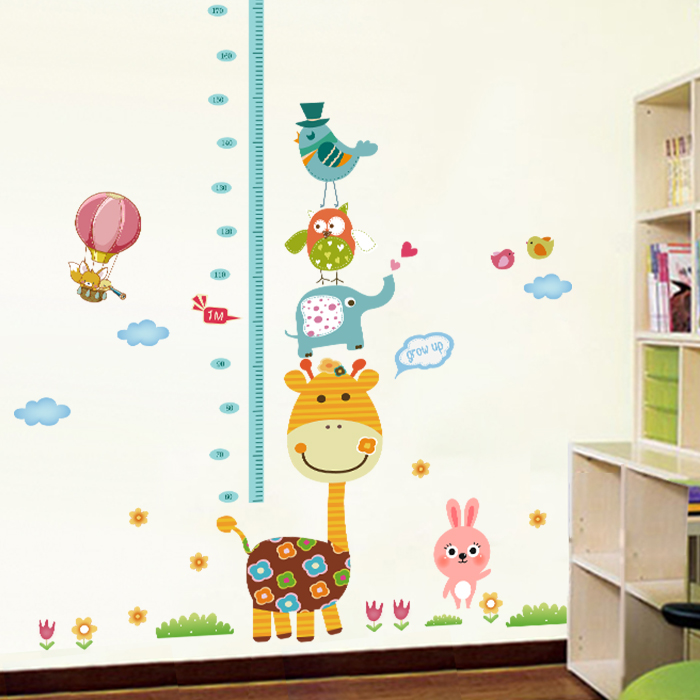 Cute Giraffe Wallpaper Animal Cartoon Measuring Height Stickers Removable  Children Kid Bedroom Home Decor In Hair Clips U0026 Pins From Beauty U0026 Health  On ...