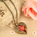 New Design Vintage Women Red Rhinestone Peach Heart Wing Pendant Necklace Chain