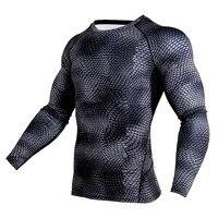 Mens Compression Shirts 3D Print Jerseys Long Sleeve T Shirt Fitness Men Lycra MMA Crossfit T