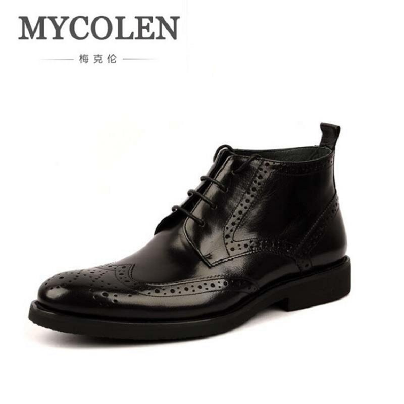 MYCOLEN New British Style Mens Carved Brogue Shoes Business Man Ridding Boots Genuine Leathe Lace up Brown Martin Boots Black brogue boots two tone