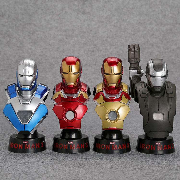 Iron Man 3 Bust 1/6 Scale Collectible Busts with LED Light PVC Action Figures Model Toys 12cm 4pcs/set Retail Box WU126 eye light led 23cm iron man action figures pvc brinquedos collection figures toys for christmas gift with retail box