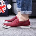 Sale top spring autumn fashion men new style Plaid canvas shoes  breathable comfortable casual lazy shoes men  round toe flats