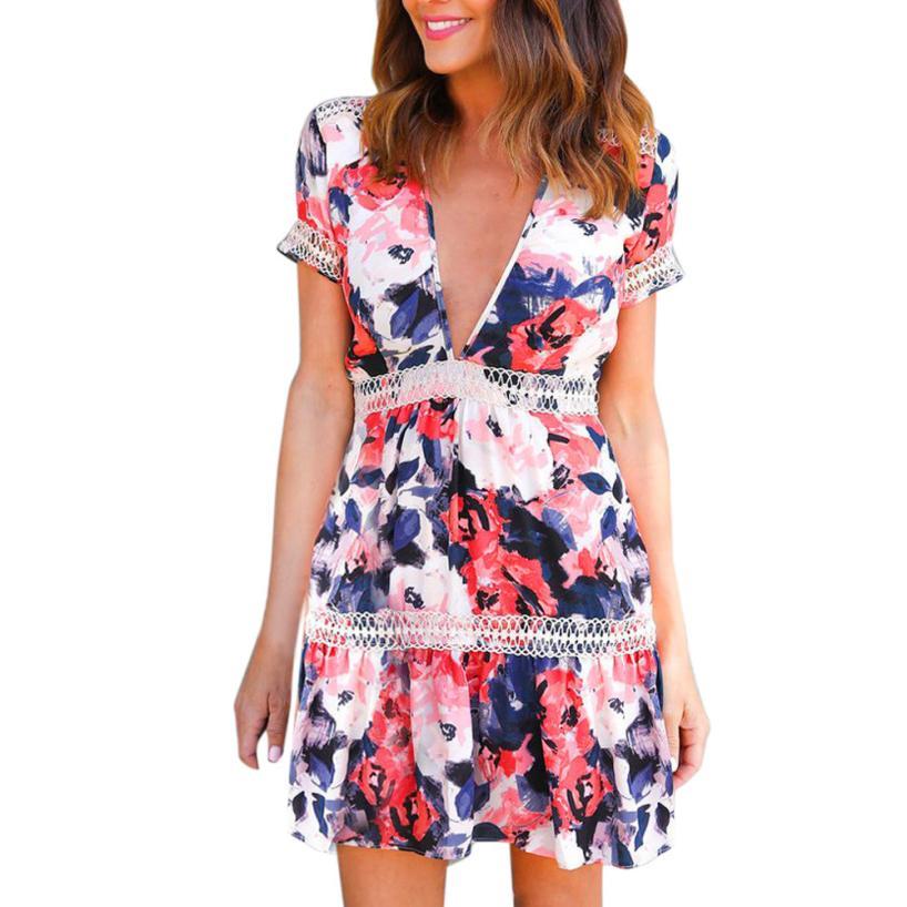 snowshine YLI Womens Summer Sheath Deep V-Neck Floral Print Flower Gallus Short Mini Dress free shipping