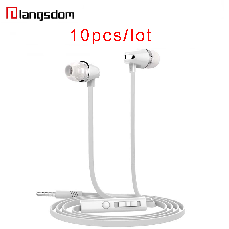 Wholesale 10pcs/lot Langsdom JV23 Earphone In-ear Earphone For Phone Stereo Super Bass Earbuds Wired Earphones With Microphone cbaooo stereo earphone wired in ear headset ear hook earbuds headphone with microphone noise canceling earphones for phone pc