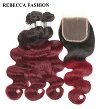 Rebecca Remy Brazilian Ombre Wine Red Human Hair Bundles With Closure Body Wave 3 Bundles Hair Weave  4×4 Lace Closure 1 Pack